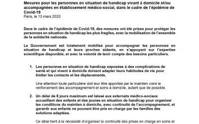 Communiqué de presse du 13 mars 2020 du Secrétariat d'Etat chargé des personnes handicapées
